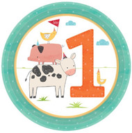 Barnyard Animals 1st Birthday Plates