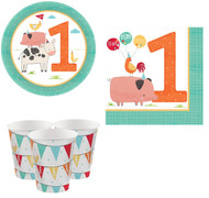 Barnyard Animals 1st Birthday Tableware Set
