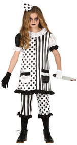 Girls Pierrot Clown Fancy Dress Costume