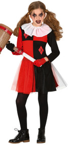Girls Evil Harlequin Fancy Dress Costume