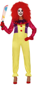 Ladies Colorful Crazy Clown Fancy Dress Costume