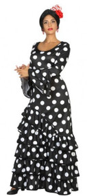 Ladies Black Flamenco Fancy Dress Costume