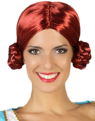 Ladies Red Bavarian Bun Wig