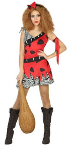 Ladies Red Cavegirl Fancy Dress Costume