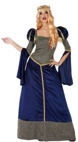 Ladies Blue Medieval Fancy Dress Costume