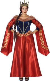 Ladies Red Medieval Queen Fancy Dress Costume