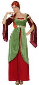 Ladies Green Medieval Fancy Dress Costume 1