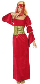 Ladies Red Medieval Fancy Dress Costume