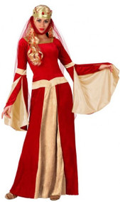 Ladies Red & Gold Medieval Fancy Dress Costume