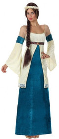 Ladies Blue/Cream Medieval Fancy Dress Costume
