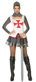 Ladies Sexy Medieval Knight Fancy Dress Costume