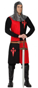 Mens Red/Black Knight Fancy Dress Costume