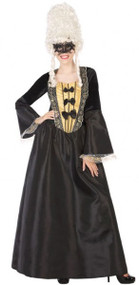Ladies Black Masqerade Fancy Dress Costume