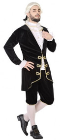 Mens Black Courtesan Fancy Dress Costume