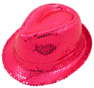 Ladies Hot Pink Sequinned Gangster Hat