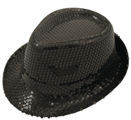 Adults Black Sequinned Gangster Hat