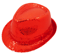 Adults Red Sequinned Gangster Hat