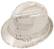 Adults Silver Sequin Gangster Hat