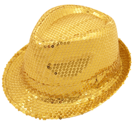 Adults Gold Sequinned Gangster Hat