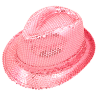 Ladies Pink Sequinned Gangster Hat