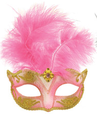 Ladies Baby Pink Masquerade Mask