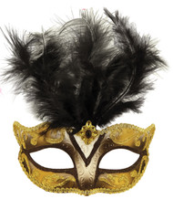 Ladies Black & Gold Masquerade Mask
