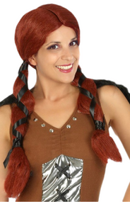 Ladies Long Viking Fancy Dress Wig
