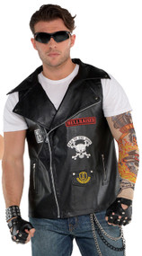 Adults Black Biker Fancy Dress Vest