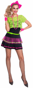 Ladies 80s Neon Fancy Dress Costume