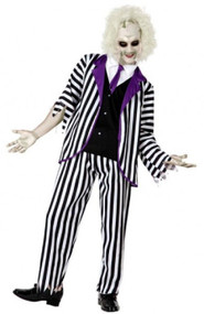 Mens Striped Crazy Ghost Fancy Dress Costume