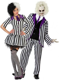 Couples Striped Crazy Ghosts Fancy Dress Costume