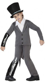 Boys Skeleton Groom Fancy Dress Costume