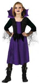 Girls Purple Vampire Fancy Dress Costume