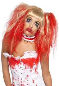 Ladies Bloody Pigtails Fancy Dress Wig