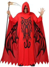 Adult Hooded Demon Robe Fancy Dress Costume