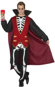 Mens Skeleton Vampire Fancy Dress Costume