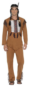 Mens Native American Warrior Fancy Dress Costume