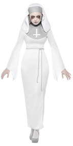 Ladies Haunted Horror Nun Fancy Dress Costume