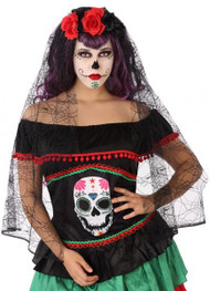 Ladies Day of the Dead Hairband with Long Veil