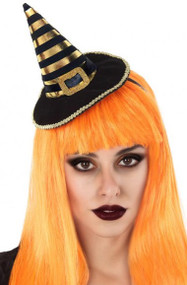 Ladies Orange Striped Mini Witch Hat