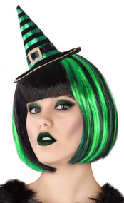 Ladies Green Striped Mini Witch Hat