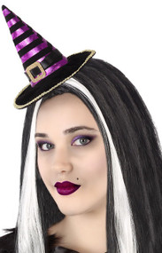 Ladies Purple Striped Mini Witch Hat