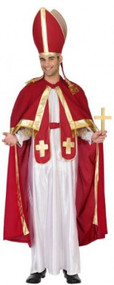 Mens Red Pope Fancy Dress Costume