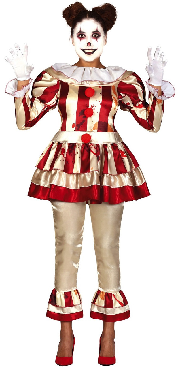 Halloween Clown Girl Outfit.Ladies Red Yellow Horror Clown Fancy Dress Costume