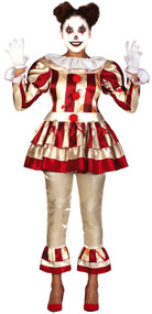 Ladies Red/Yellow Horror Clown Fancy Dress Costume