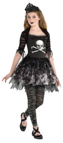 Girls Dark Zombie Princess Fancy Dress Costume
