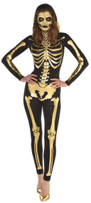 Ladies Sexy Gold Skeleton Fancy Dress Costume