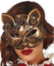 Ladies Steampunk Cat Fancy Dress Mask