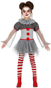 Girls Bad Clown Fancy Dress Costume