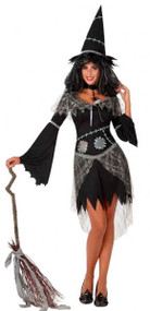 Ladies Patchwork Witch Fancy Dress Costume
